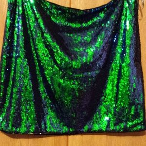 Forever 21 Size 3X Green/Blue Sequin Mini Skirt